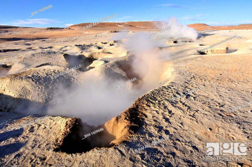 Stock Photo: Sol de Mañana is a geothermal field in Sur Lípez Province in the Potosi Department of south-western Bolivia. It extends over 10 km².