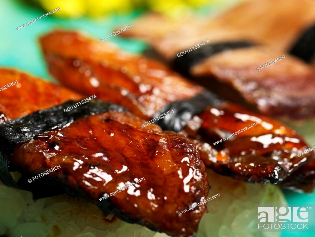 Stock Photo: food, plate, eel sushi, decoration, food styling, cuisine, sushi plate.