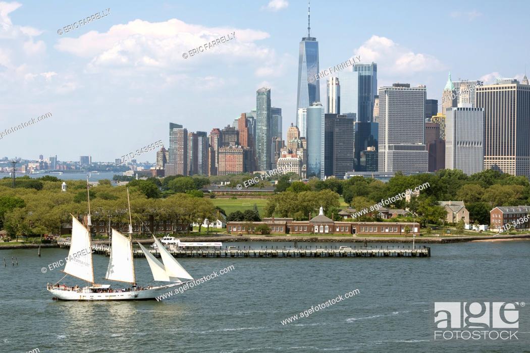Stock Photo: Schooner Adirondack sailing in New York Harbor on sightseeing cruise.