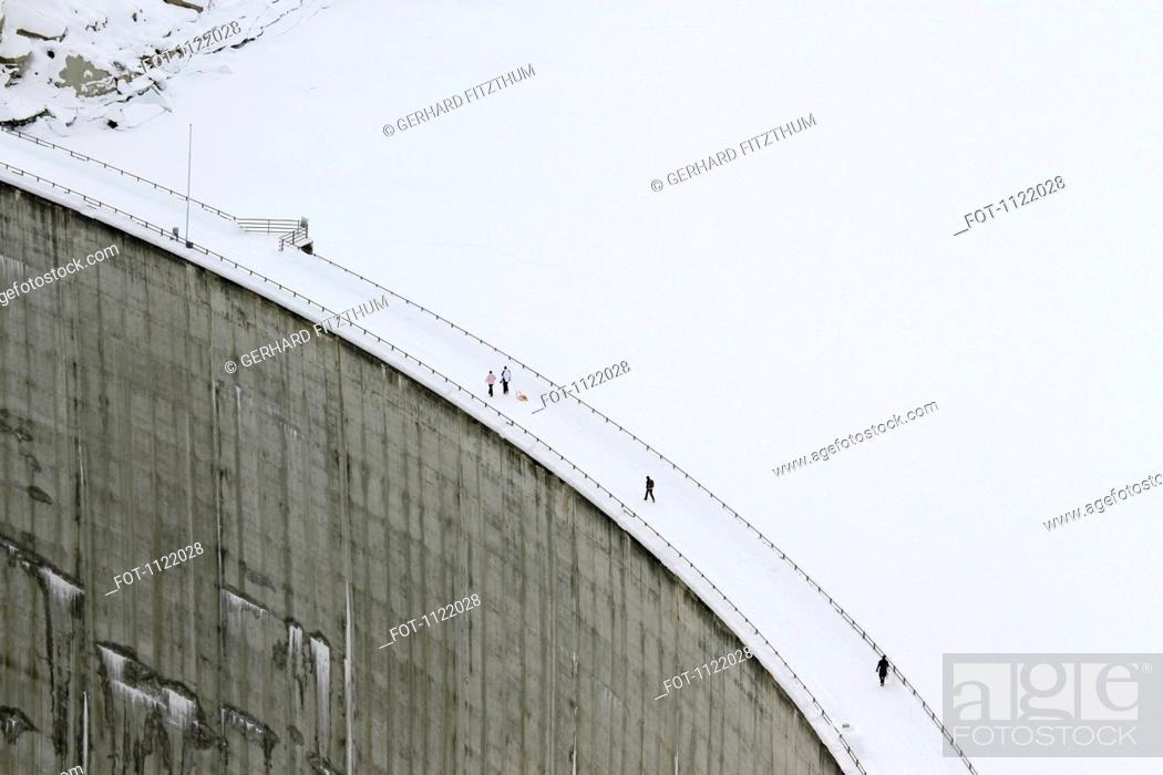 Stock Photo: View above the Zervreila Dam in Switzerland.