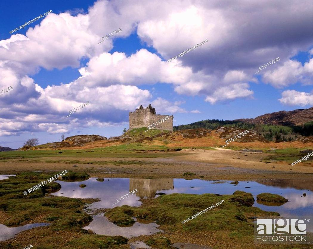 Stock Photo: Castle Tioram and Loch Moidart. Highlands, Scotland, UK.