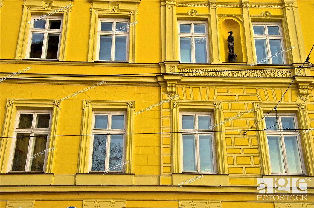 Stock Photo: Czech Republic, Prague, painted facade.
