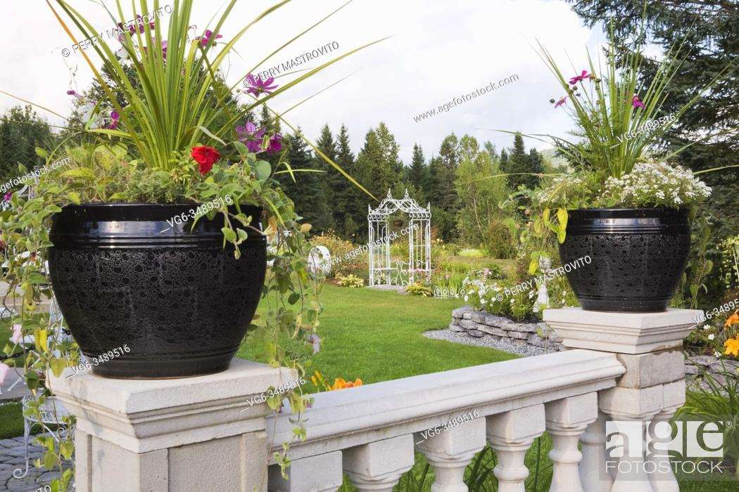 Stock Photo: Black ceramic planters with flowers and Dracaena shrubs on top of white concrete railing in backyard country garden in summer, Les Jardins du Grand Duc garden.