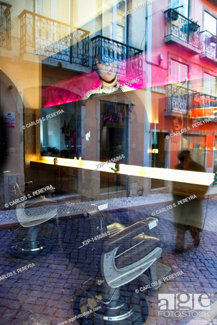 Stock Photo: Barber in Chiado district, Lisbon, Portugal.