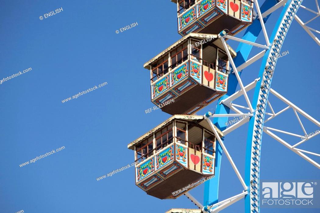 Stock Photo: Detail of Ferris wheel at Oktoberfest beer festival, in Munich Germany.