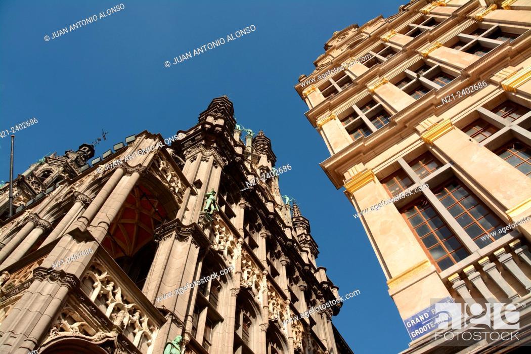 Stock Photo: Partial view of La Maison du Roi on the left. Grand Place, Brussels, Belgium, Europe.