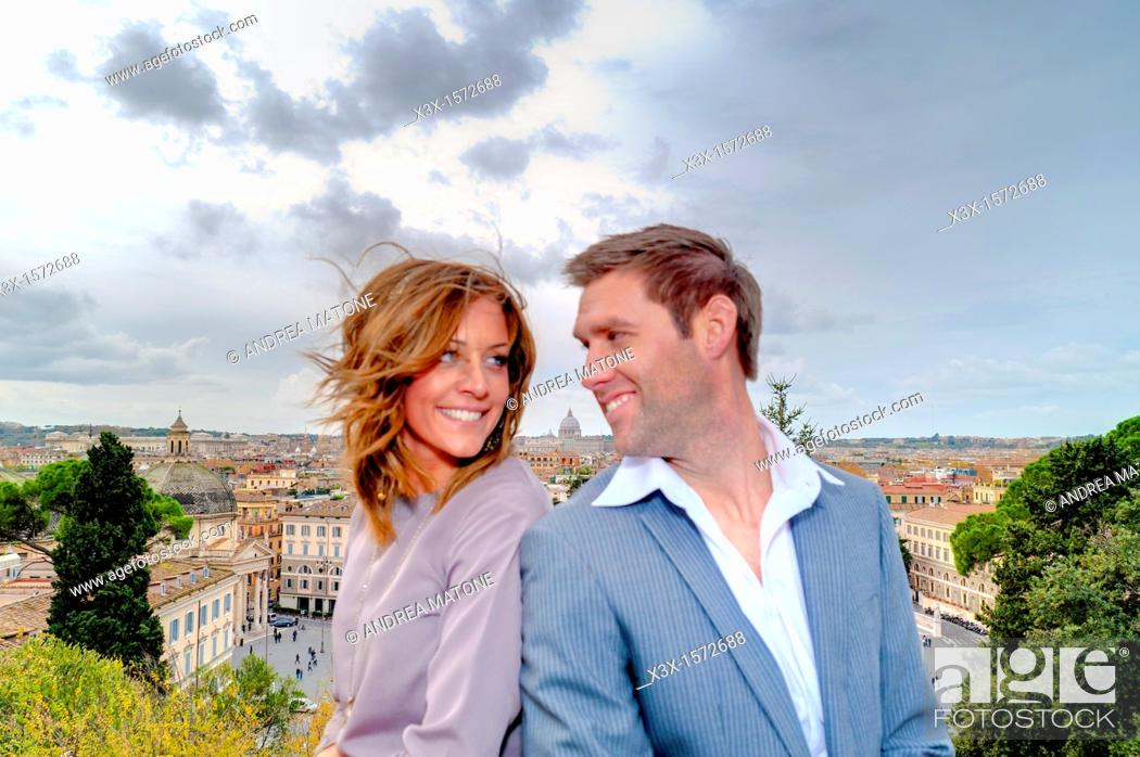 Stock Photo: Couple on the terrace of Parco del Pincio in Rome Italy.