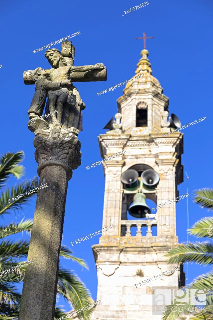 Imagen: Europe, Spain, Galicia, Porto do Son, Iglesia de San Vicente de Noal, Bell tower with Crucifix (Detail).