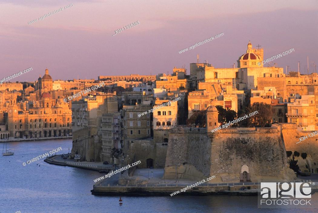 Stock Photo: Senglea and Vittoriosa seen from Valletta, Malta, Mediterranean Sea, Europe.