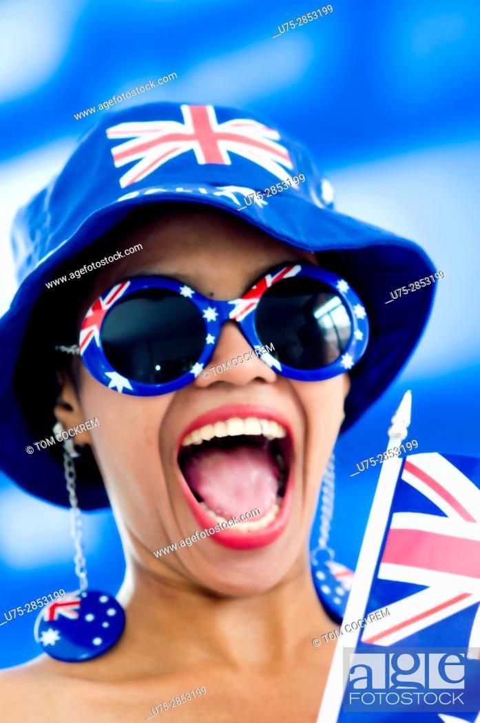Stock Photo: Asian woman in Australian patriotic colors.