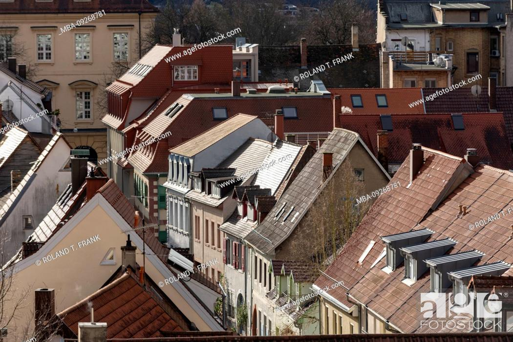 Stock Photo: Germany, Baden-Württemberg, Karlsruhe, Durlach, roofs of the old town.