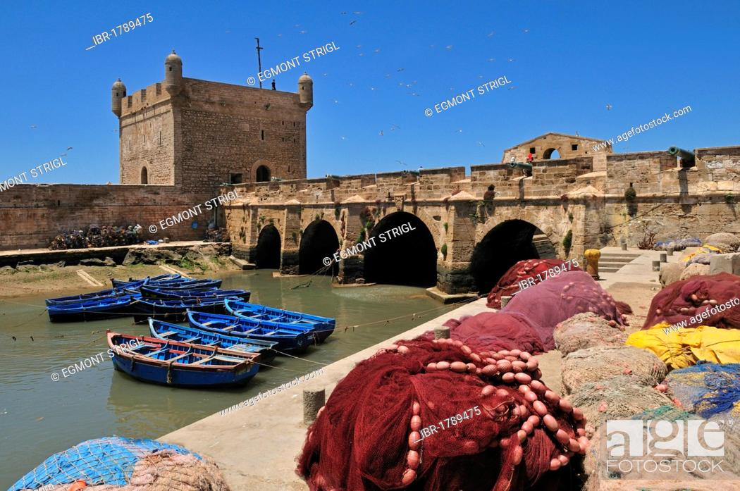 Stock Photo: Portuguese fortress in the historic district of Essaouira, Unesco World Heritage Site, Morocco, North Africa.