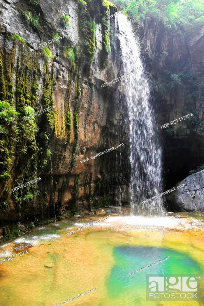 Stock Photo: Waterfall on a mountain, Jiaozuo, Henan Province, China.
