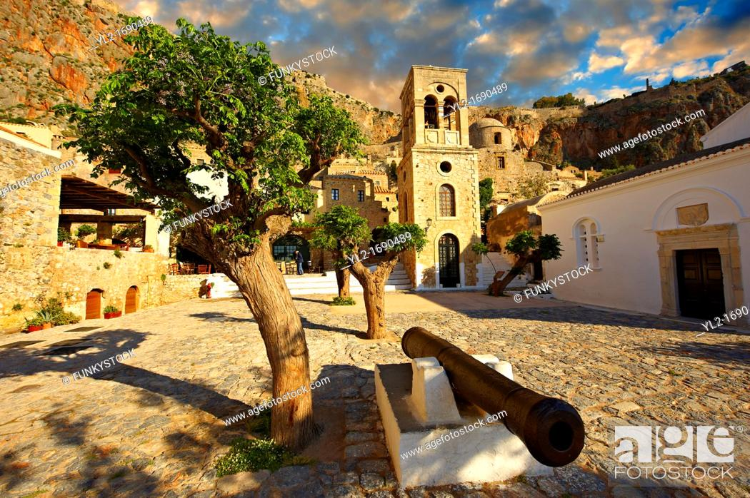 Stock Photo: Monemvasia  eµßasa , main square of the lower town with the bell tower of the Byzantine IGreek Orthodox Church of Christ Elkomenos  Peloponnese, Greece.