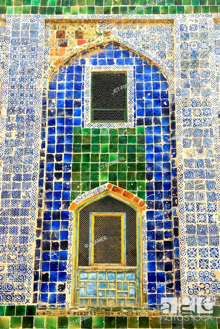 Stock Photo: China, Xinjiang, kashgar, grave of Abakh Hoja, ceramics on facade.