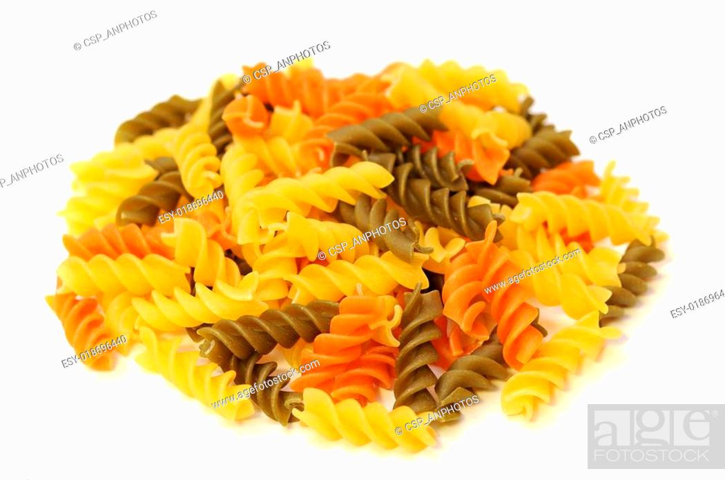 Photo de stock: a group of twisted pasta on white background.