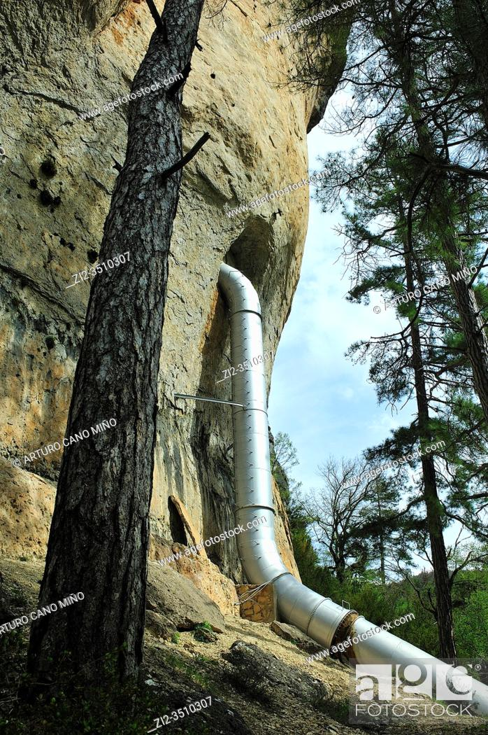 Stock Photo: An hydroelectric installation in the Hoz de Beteta Natural Monument. Cuenca province, Spain.