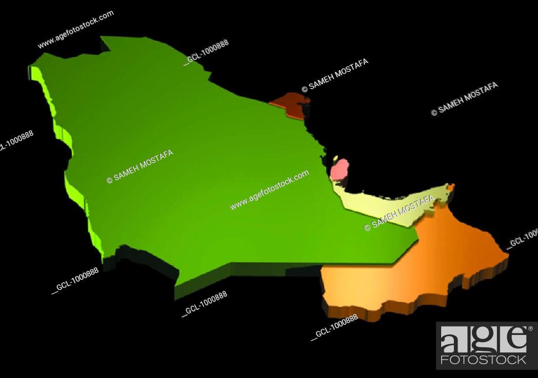 Stock Photo: map of Saudi Arabia, Oman, UAE, Qatar, Bahrain and Kuwait.