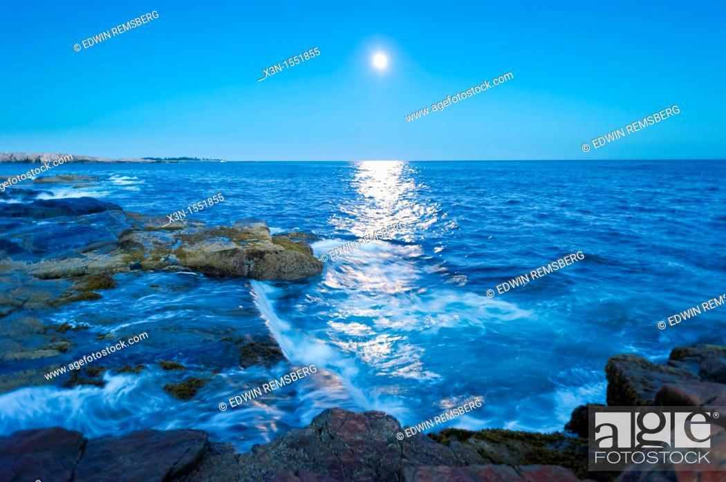 Stock Photo: Moon over Schoodic Peninsula - Acadia National Park, Maine.