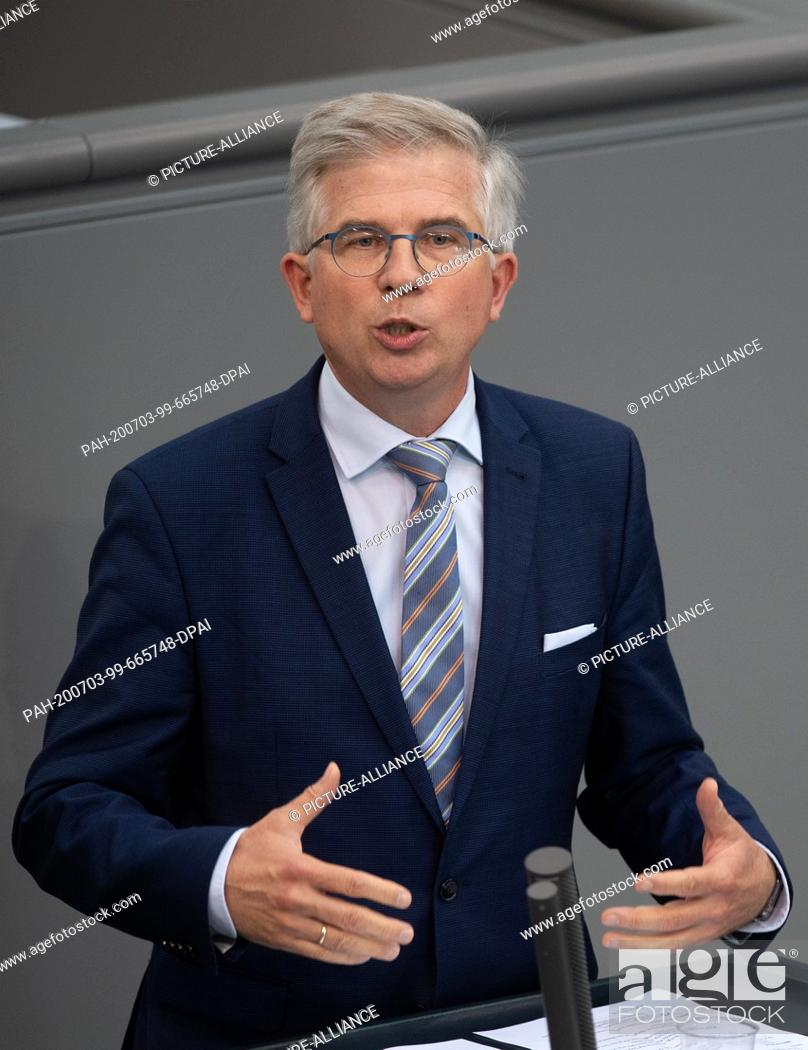 Stock Photo: 03 July 2020, Berlin: Andrew Ullmann (FDP) speaks in the plenary session of the German Bundestag. The main topics of the 171st session of the 19th legislative.