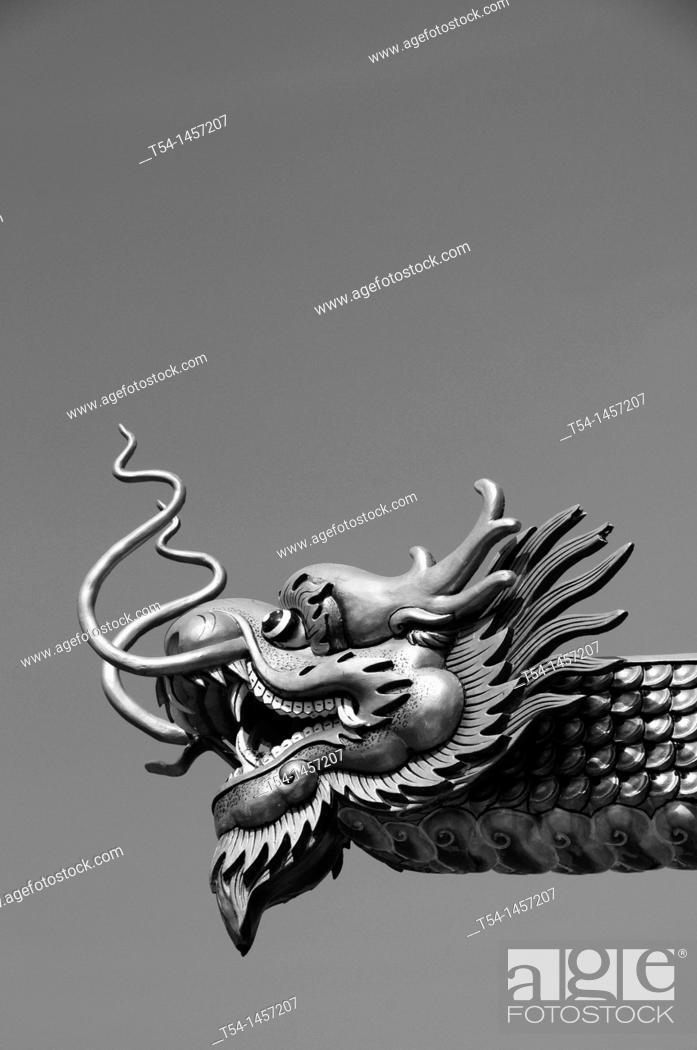 Stock Photo: Golden dragon head at a temple in Kanchanaburi.