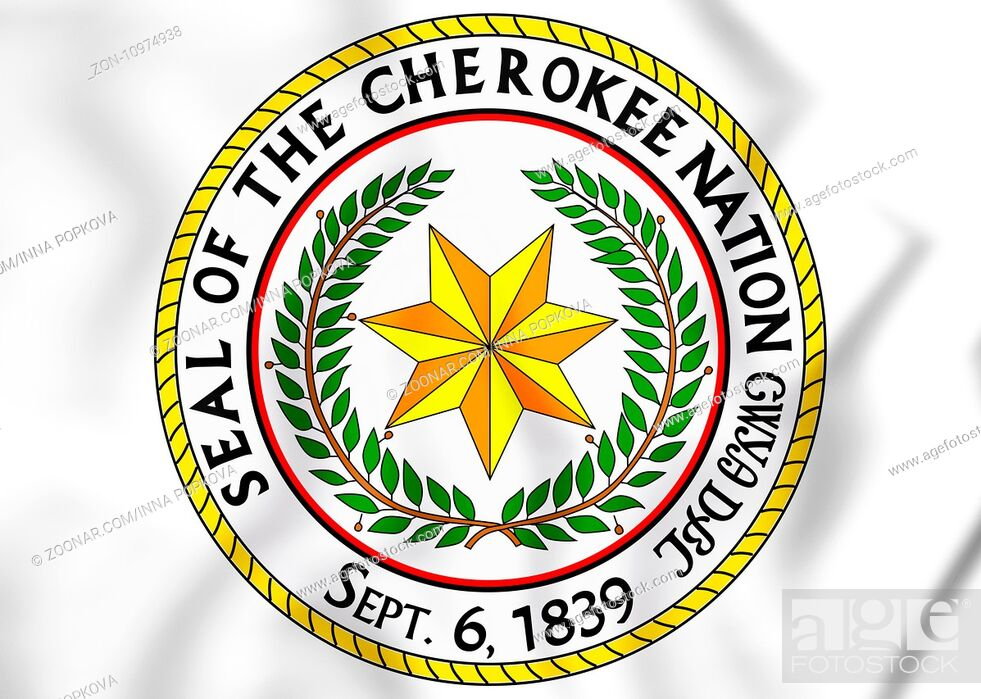 Stock Photo: Seal of the Cherokee Nation. 3D Illustration.