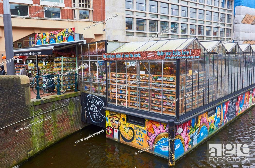 Floating Flower Market.Bloemenmarkt Amsterdam Flower Market Founded In 1862 The