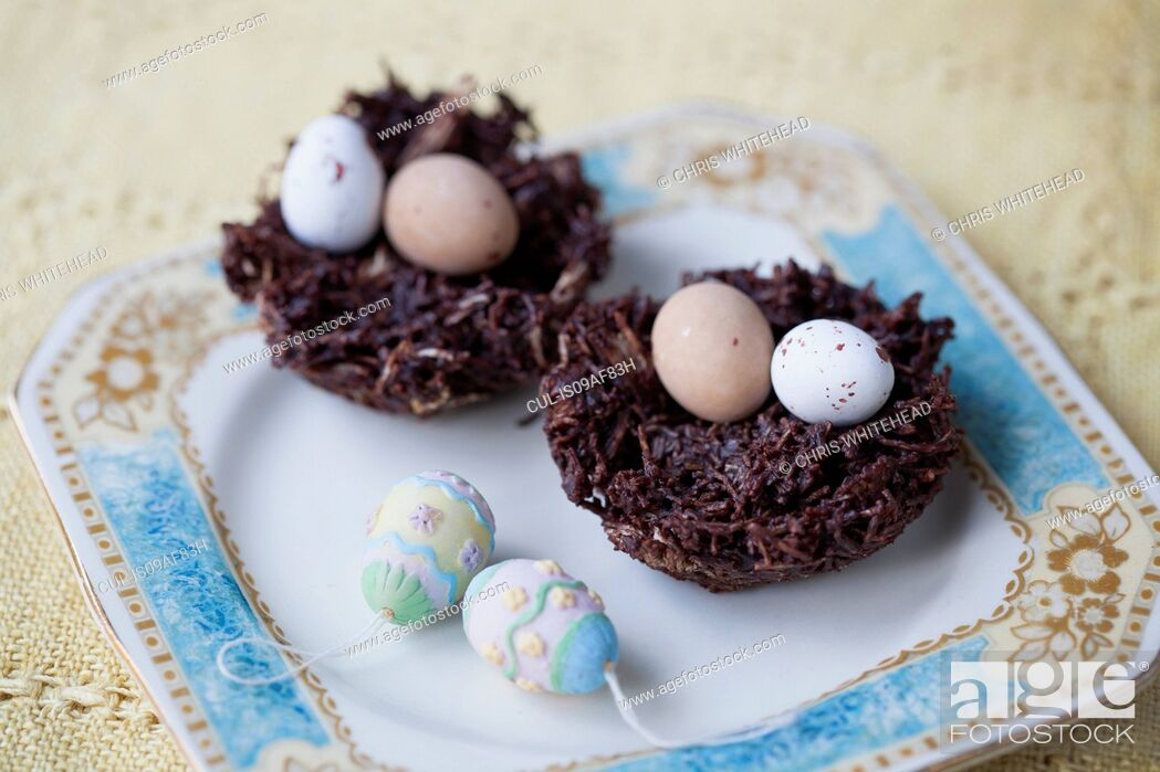Photo de stock: Still life of chocolate easter eggs in chocolate nests.