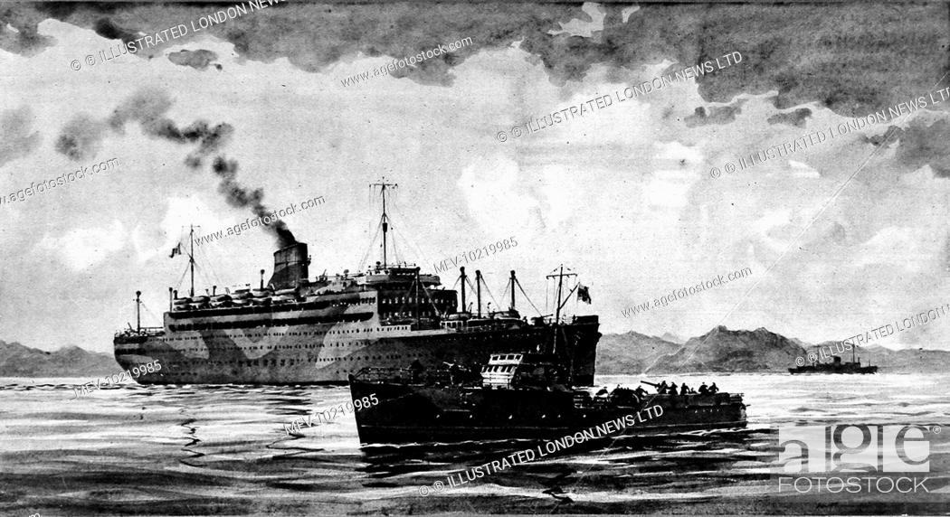 Stock Photo: Illustration showing a German motor torpedo boat capturing the Italian passenger-liner 'Vulcania' in the Adriatic sea during 1943.