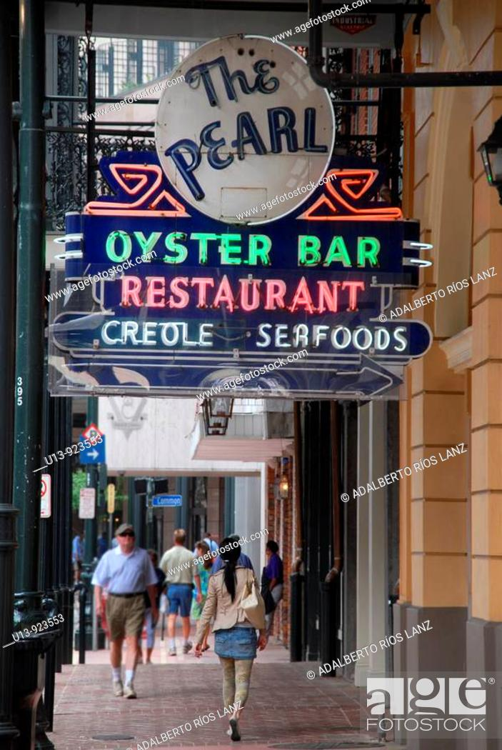 Stock Photo: The Pearl oyster bar and restaurant, Central Business District, New Orleans, Louisiana, USA.