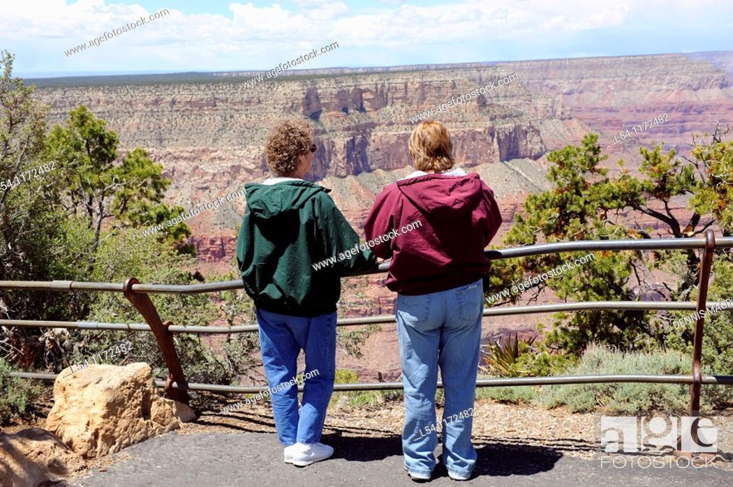 Stock Photo: Visitors at South Rim Grand Canyon National Park Arizona.