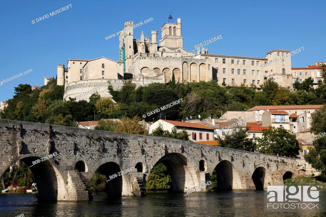 Stock Photo: the River Orbe at Beziers, Languedoc, southern France.