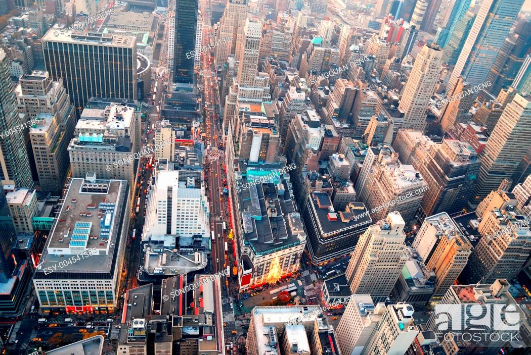 Stock Photo: New York City Manhattan skyline aerial view.