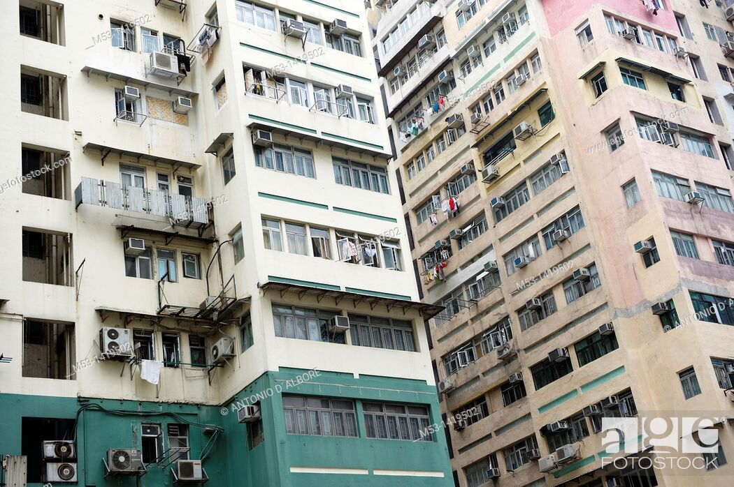Stock Photo: High rise residential building in Ferry Street  Yau Ma Tei District  Kowloon Peninsula  Hong Kong is one of the most densely populated places in the world  The.