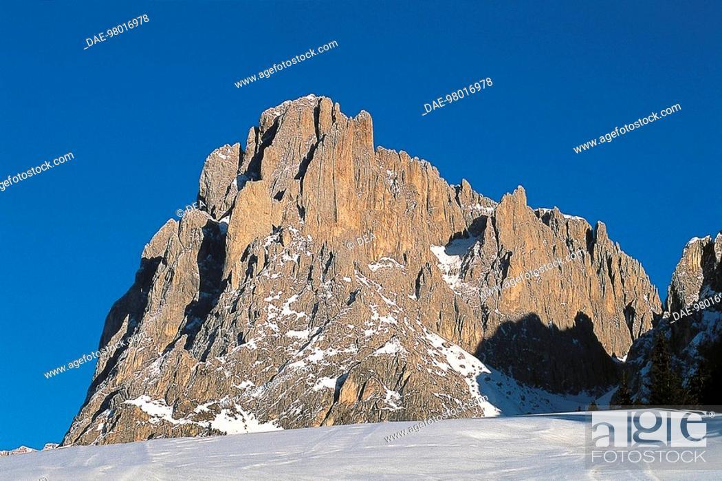 Stock Photo: The summit of Sasso Lungo (Langkofel), Seiser Alm, Dolomites, Trentino-Alto Adige, Italy.