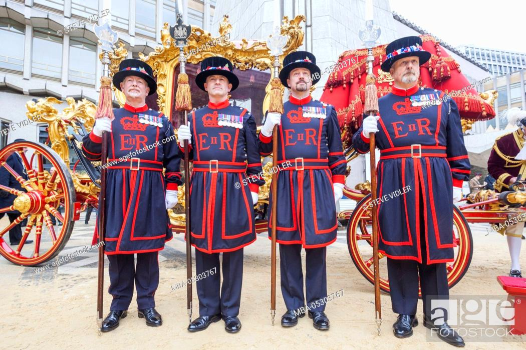 Stock Photo: England, London, The Lord Mayor's Show, Guildhall, Beefeaters and Lord Mayor's State Coach.