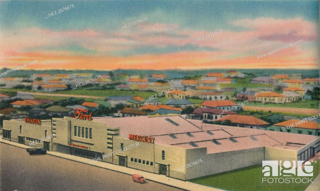Stock Photo: 'Carlos Dieppa Building, Ford, Mercury, Lincoln Service, Barranquilla', c1940s. Artist: Unknown.