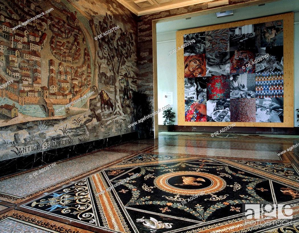 Stock Photo: Old Spilimbergo (1940-1950), mosaic, sketch by Fred Pittino (1906-1991), atrium of the Irene da Spilimbergo mosaic school, Spilimbergo, Friuli-Venezia Giulia.