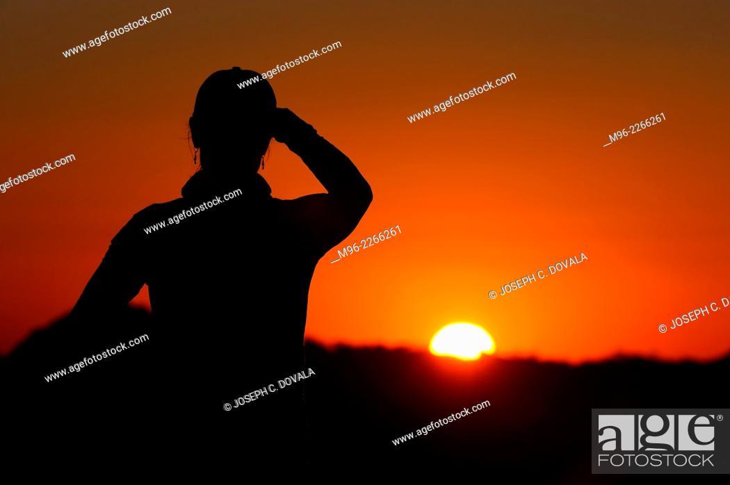 Stock Photo: Watching sun set, Matopos, Zimbabwe, Africa.