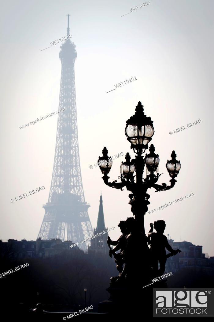 Stock Photo: Eiffel Tower from the Alexandre III bridge  Paris, France.