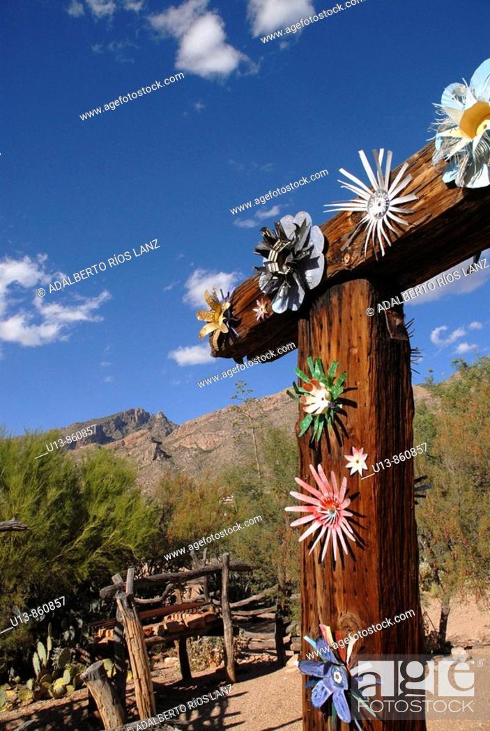 Stock Photo: Ornate Flowers at the Main Entrance of De Grazia Gallery In The Sun, Tucson,  Arizona, United States.