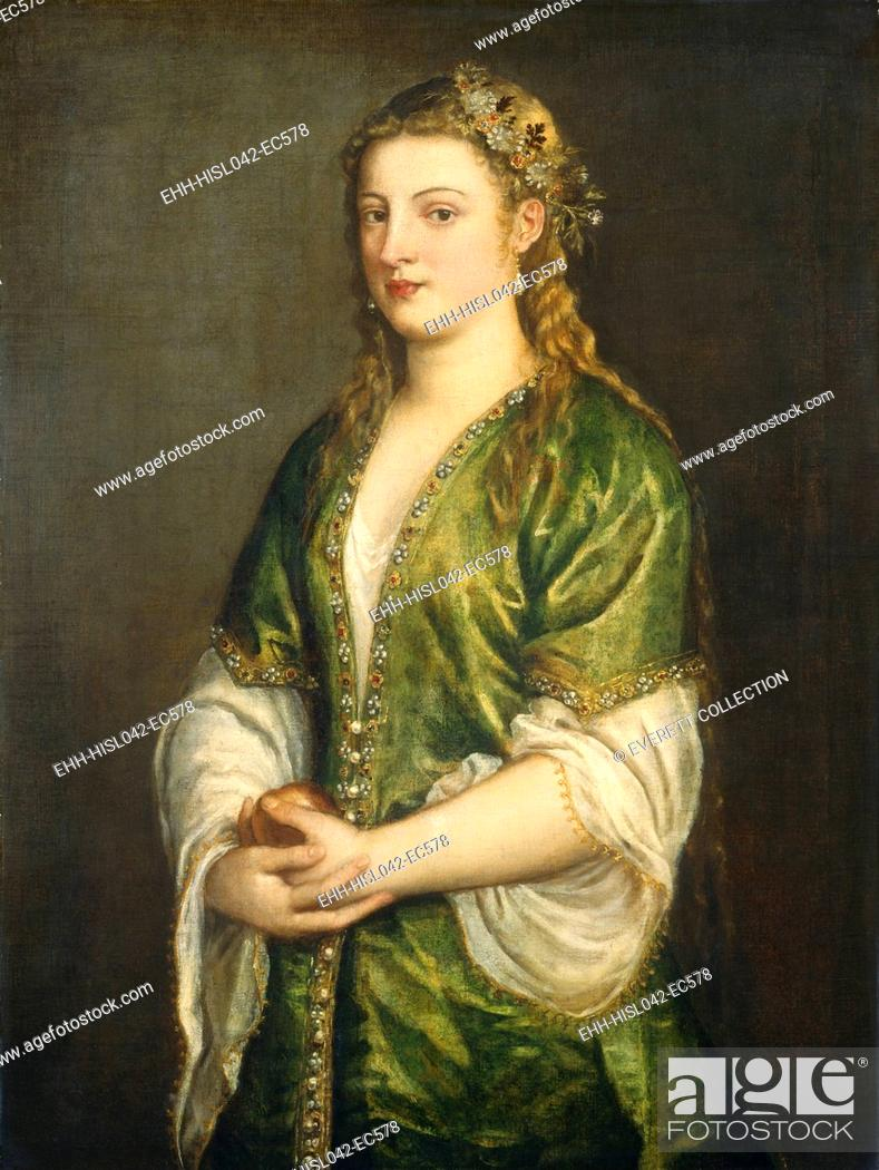 Stock Photo: Portrait of a Lady, by Titian, 1555, Italian Venetian painting, oil on canvas. The unnamed young Venetian woman wears a white shift with gold braid edging.