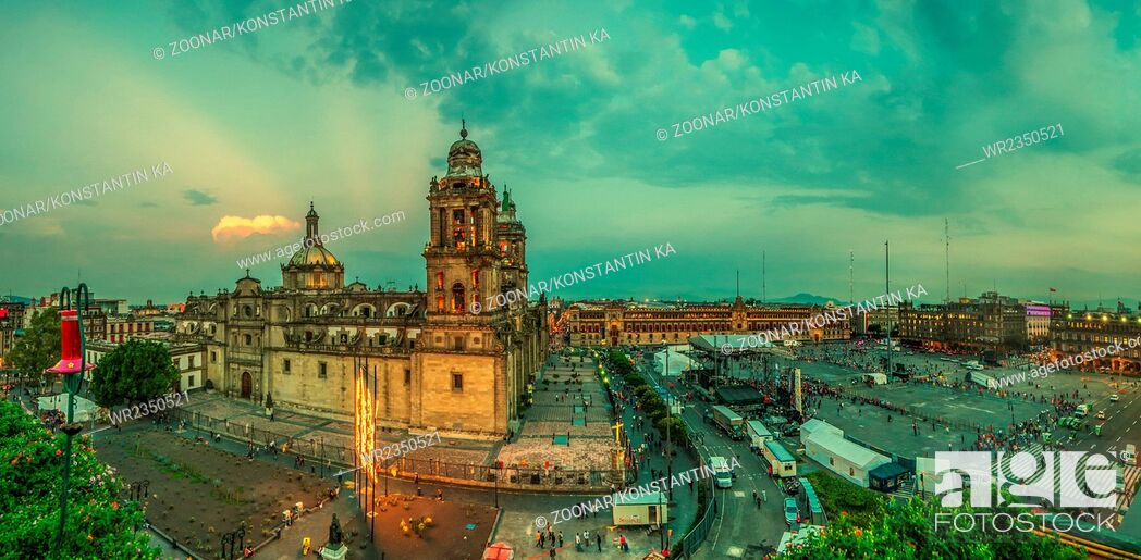 Stock Photo: Zocalo square and Metropolitan cathedral of Mexico city.