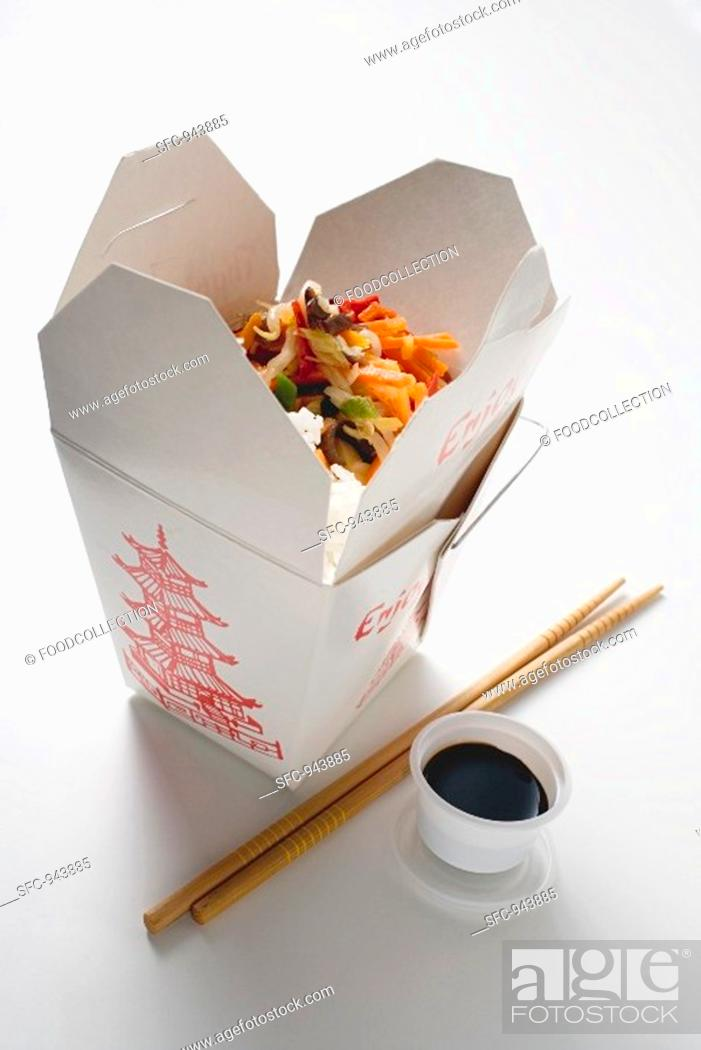 Stock Photo: Asian vegetables with rice.