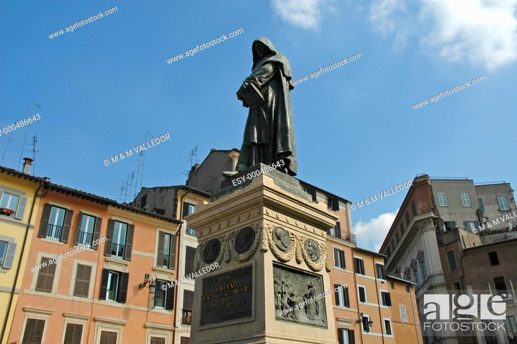 Stock Photo: Italy, Rome, Campo dei Fiori, statue, Giordano Bruno.