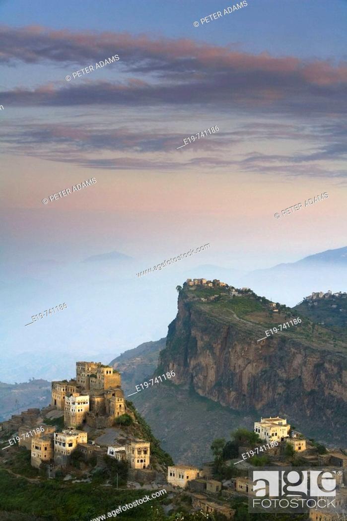 Stock Photo: View of village. Al Karn, Al Mahwit Province, Yemen.