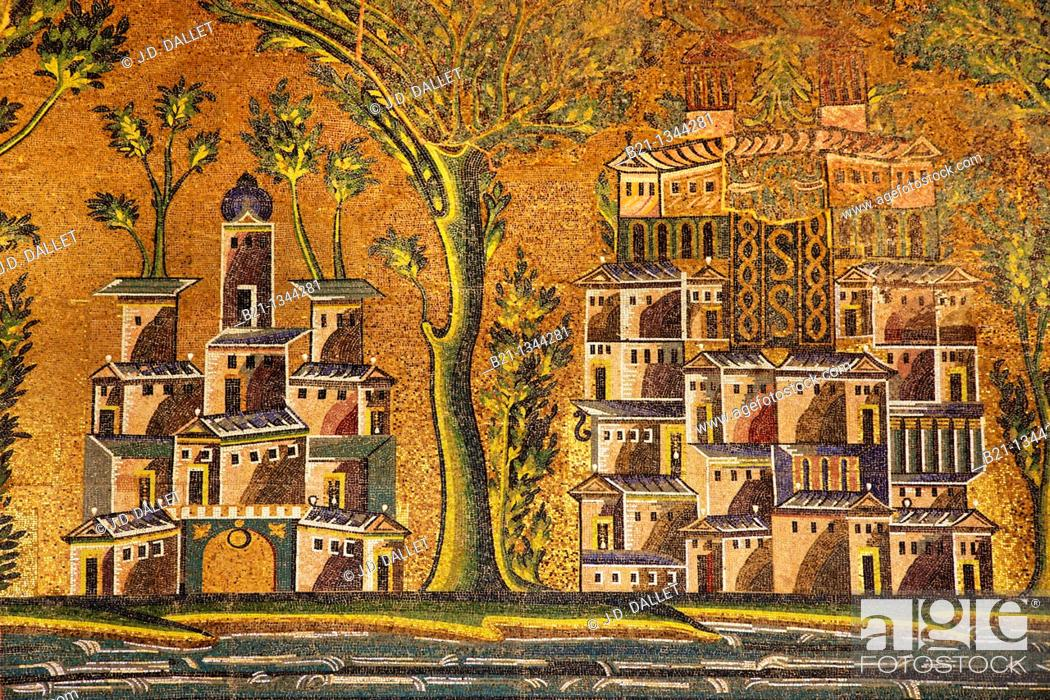Stock Photo: Syria. Damascus. Mosaic detail at The Umayyad Mosque, also known as the Grand Mosque of Damascus Arabic:    , transl  Gam' Bani 'Umayyah al-Kabir.