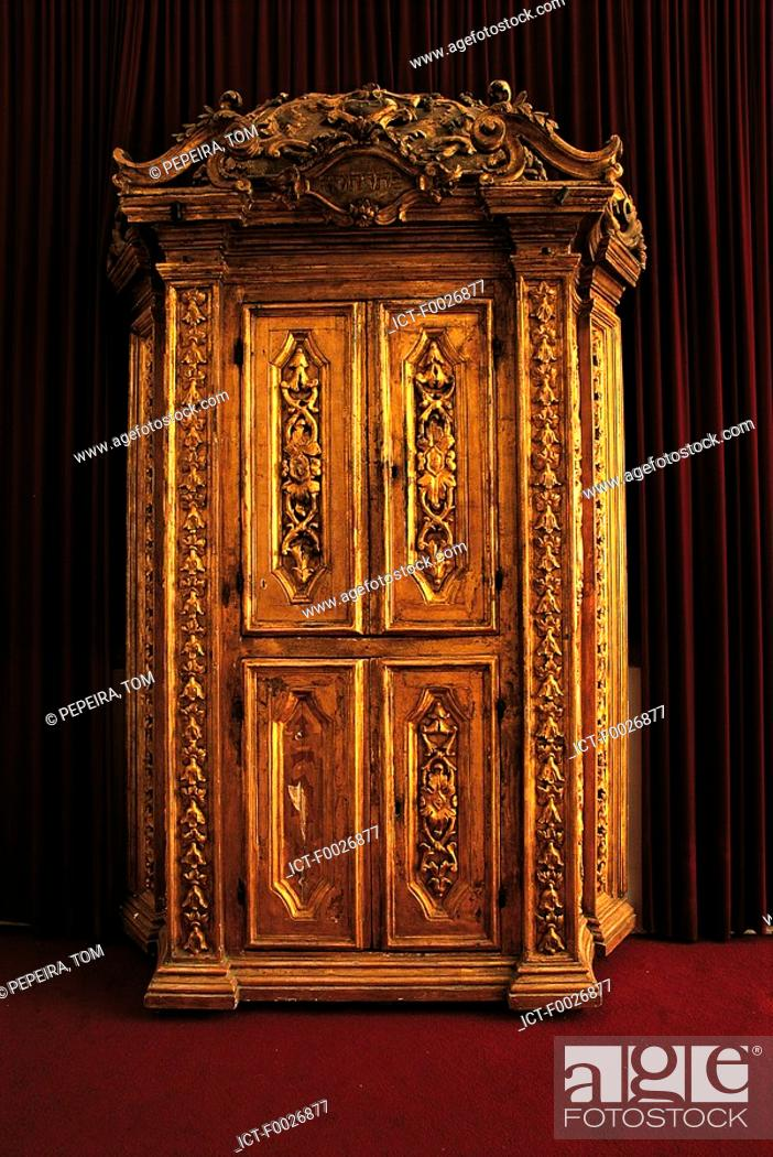 Stock Photo: Israel, Jerusalem, synagogue, old wardrobe used for storing sacred texts.