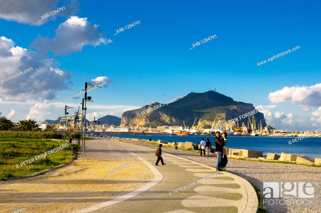 Terrazza a mare park by the sea Palermo Sicily Italy Europe, Stock ...