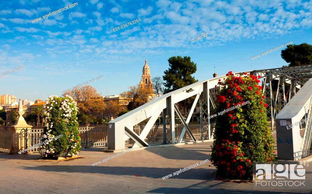 Stock Photo: Bridge over Segura river called Puente Nuevo. Murcia, Spain.